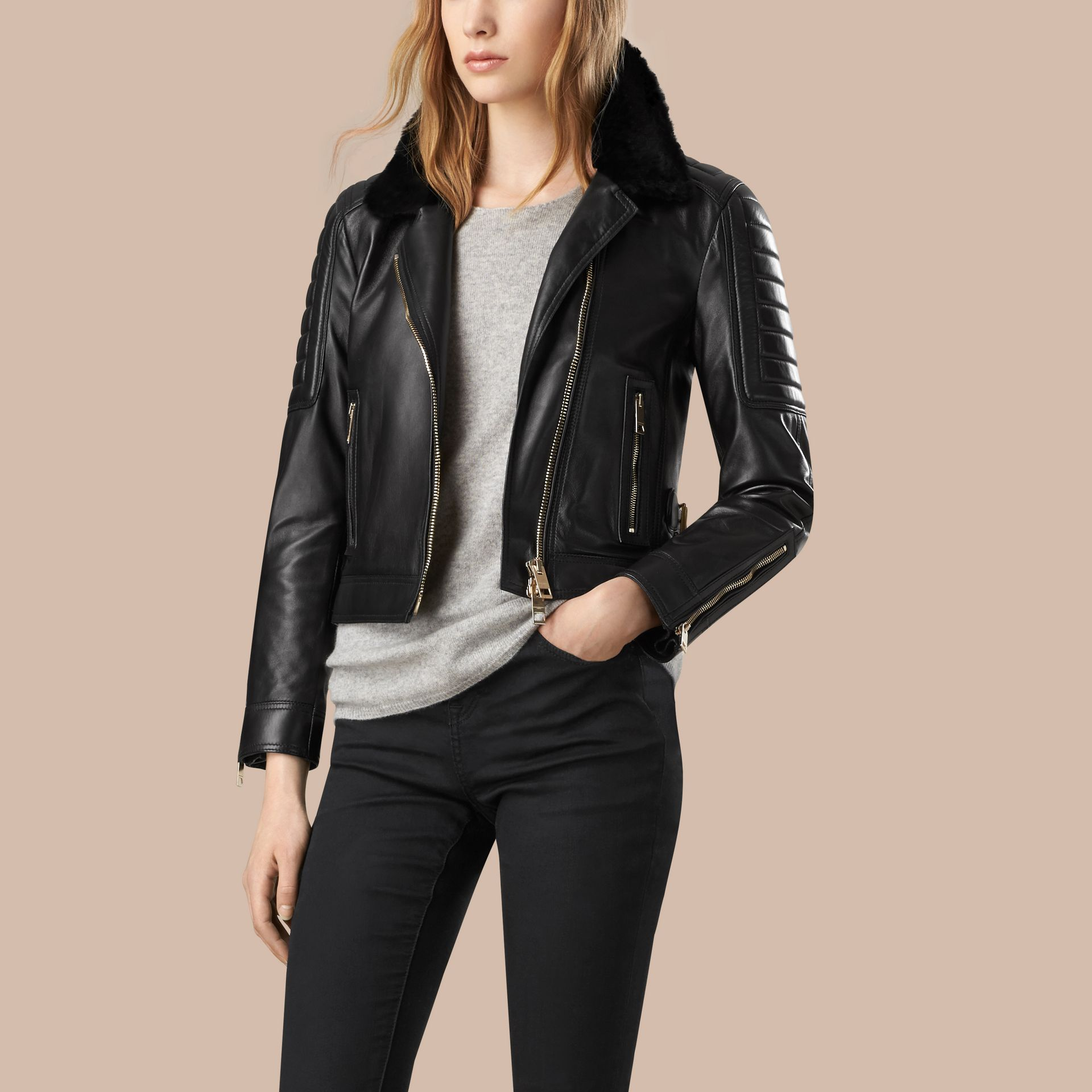 Black Lambskin Biker Jacket with Shearling Topcollar - gallery image 1