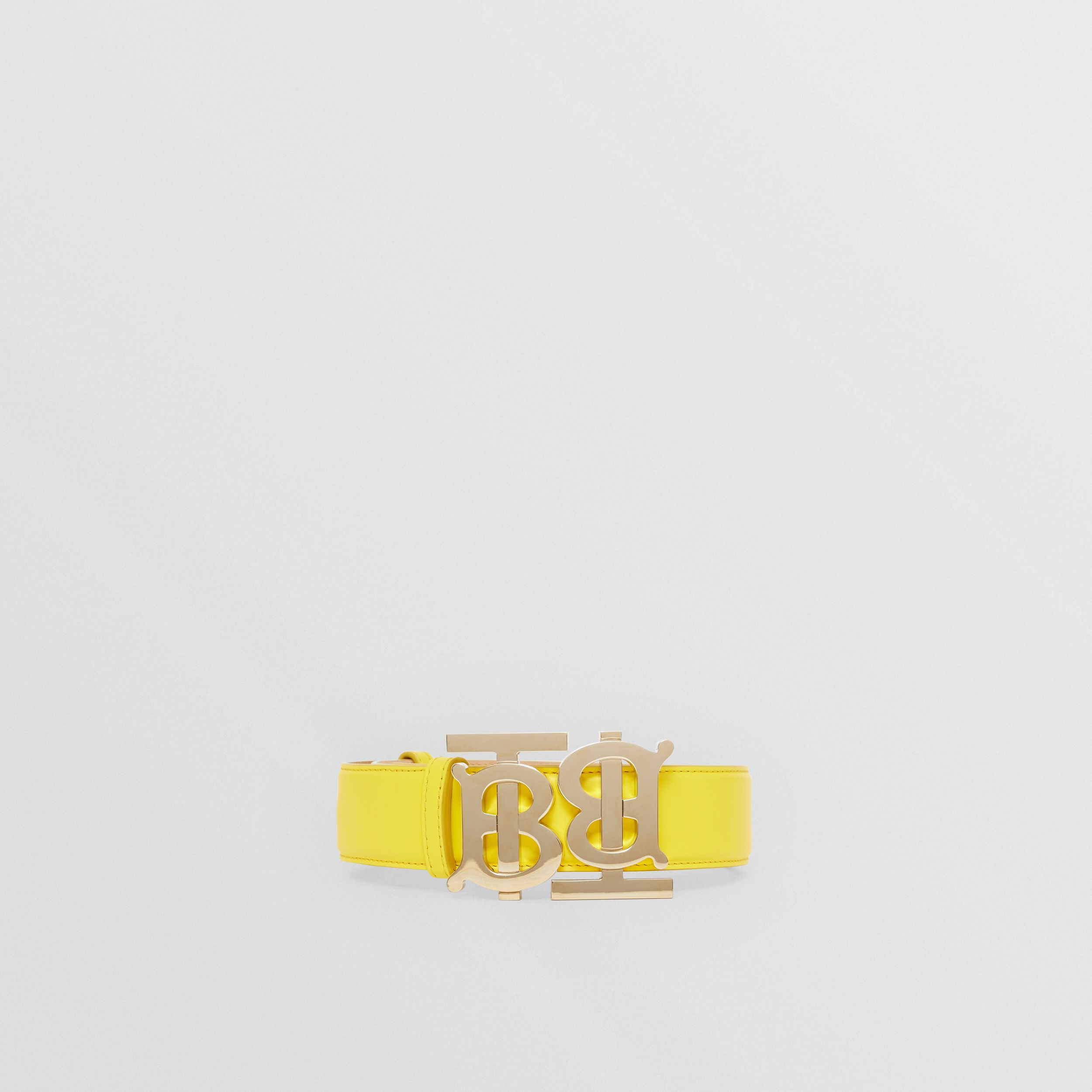 Double Monogram Motif Leather Belt in Marigold Yellow - Women | Burberry - 4