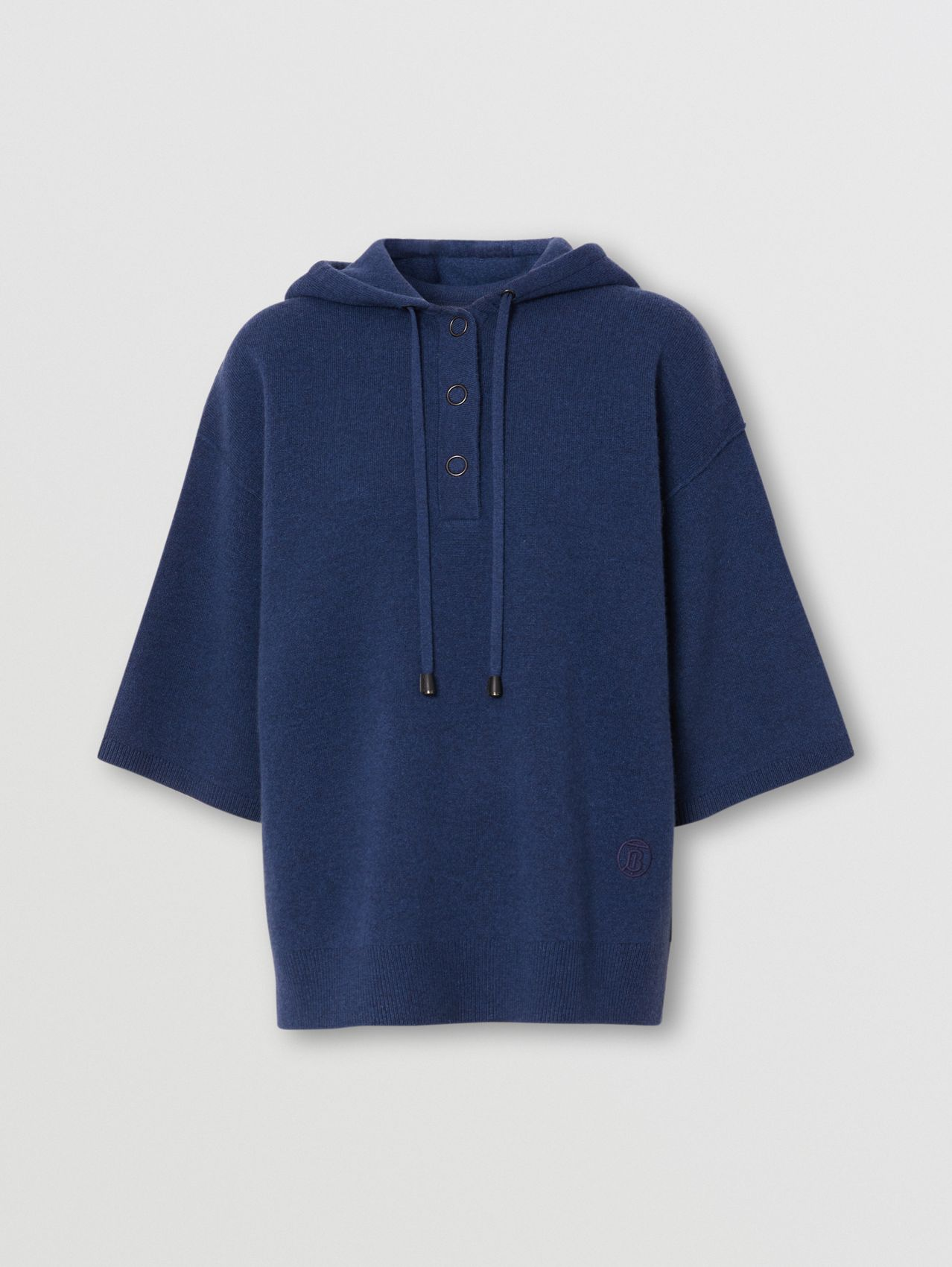 Short-sleeve Cashmere Blend Oversized Hooded Top in Ink Blue