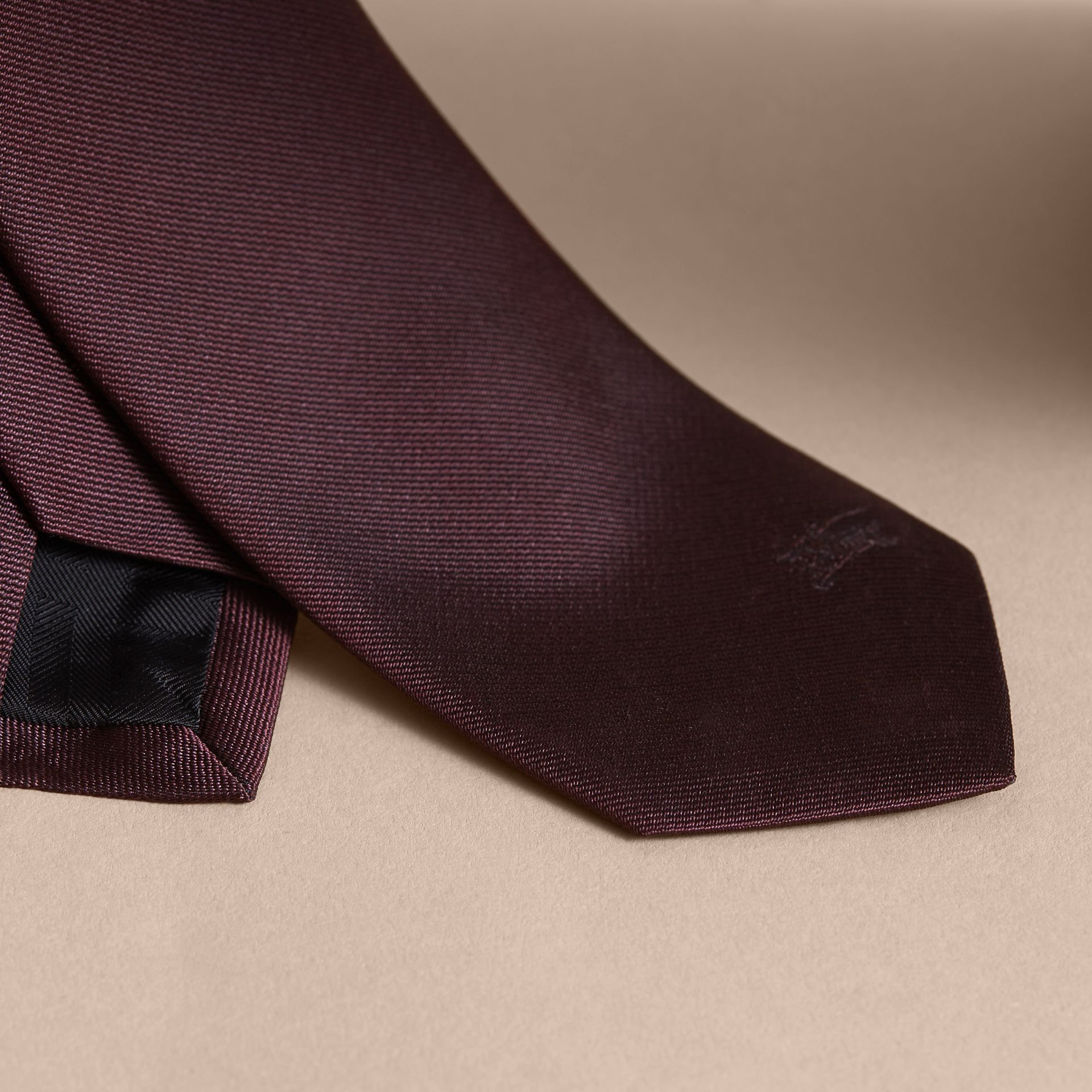 Slim Cut Silk Twill Tie in Deep Claret - Men | Burberry - gallery image 2