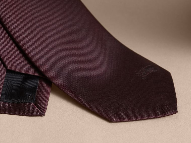 Slim Cut Silk Twill Tie in Deep Claret - Men | Burberry - cell image 1