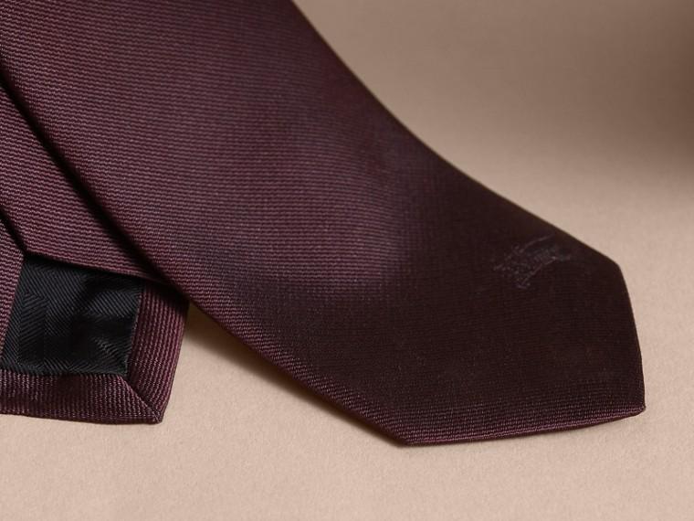 Slim Cut Silk Twill Tie Deep Claret - cell image 1