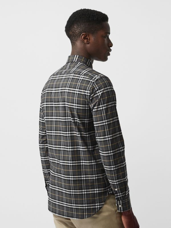 Check Stretch Cotton Shirt in Dark Grey - Men | Burberry Australia - cell image 2