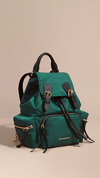 The Small Rucksack in Technical Nylon and Leather Pine Green