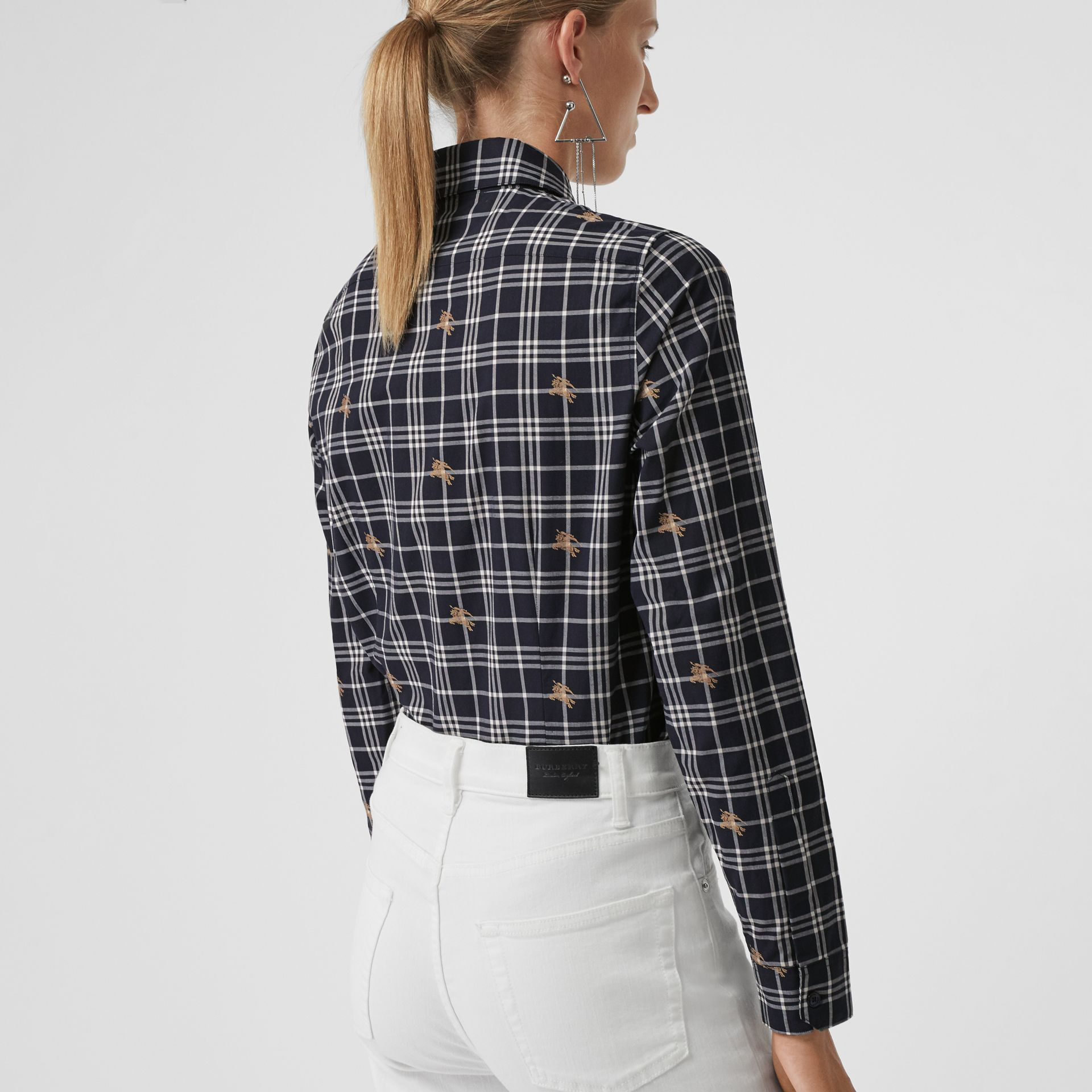 Equestrian Knight Check Cotton Shirt in Navy - Women | Burberry - gallery image 2