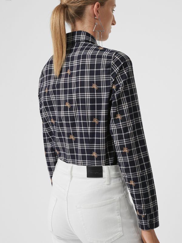 Equestrian Knight Check Cotton Shirt in Navy - Women | Burberry Australia - cell image 2