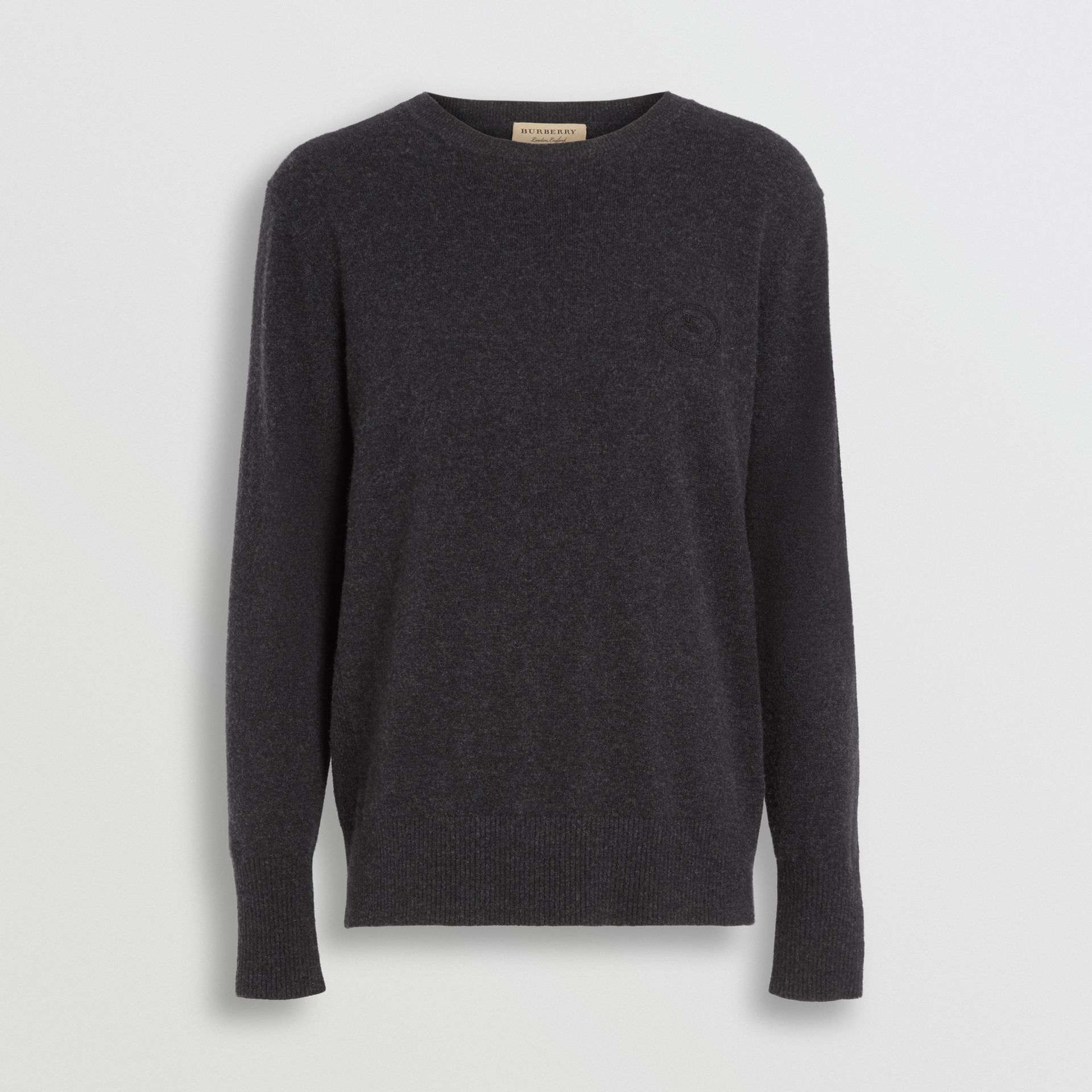 Embroidered Archive Logo Cashmere Sweater in Charcoal Melange - Men | Burberry United Kingdom - gallery image 3