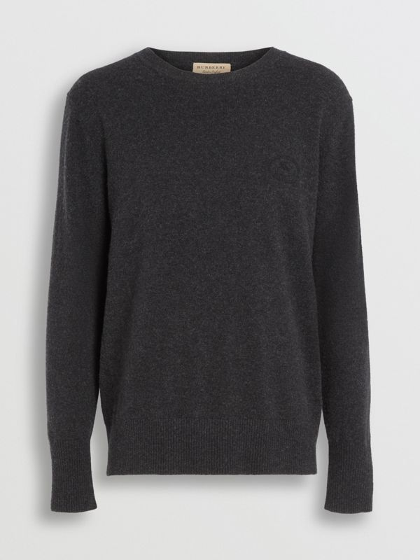 Embroidered Archive Logo Cashmere Sweater in Charcoal Melange - Men | Burberry United Kingdom - cell image 3