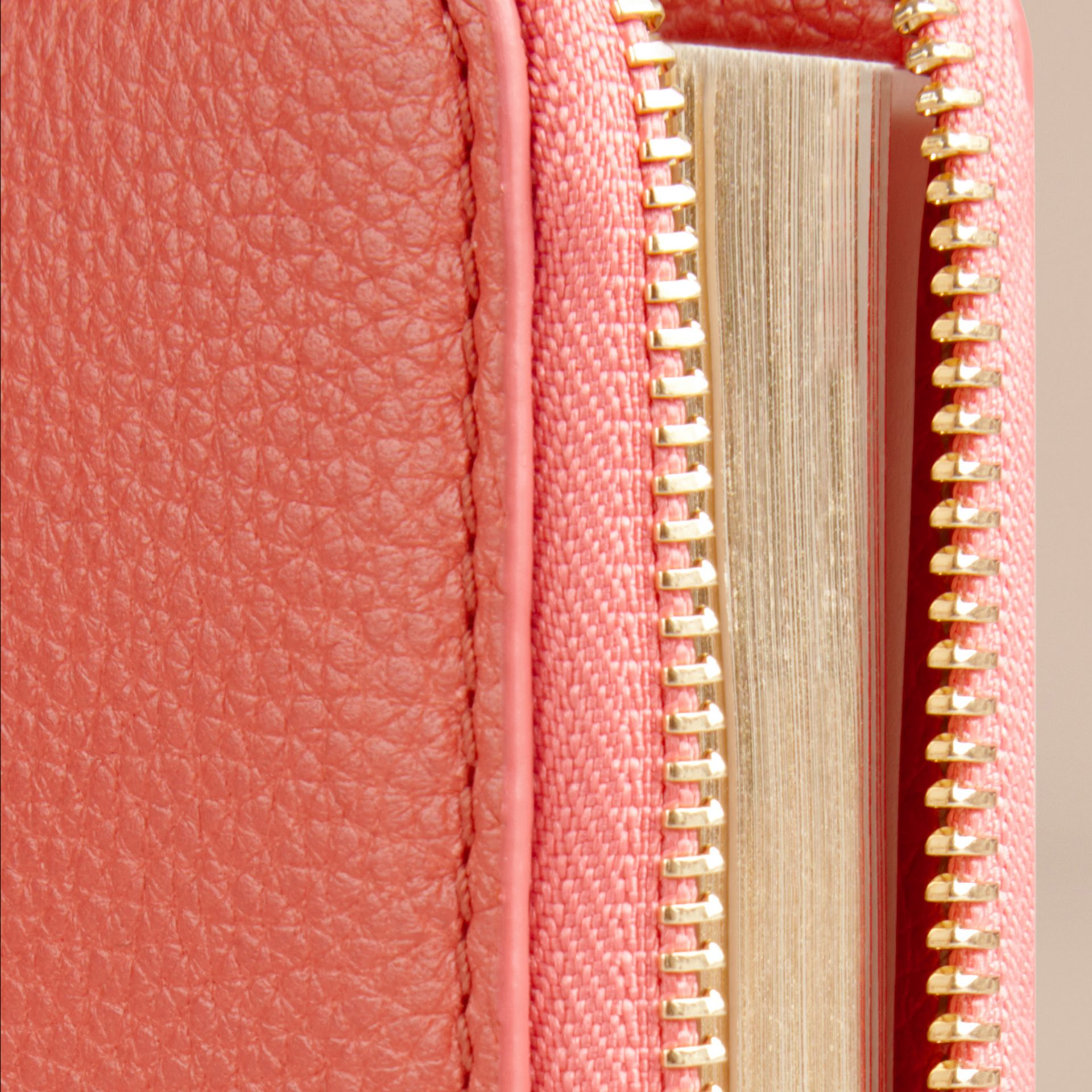 Ziparound Grainy Leather Mini Notebook in Bright Peony | Burberry - gallery image 2