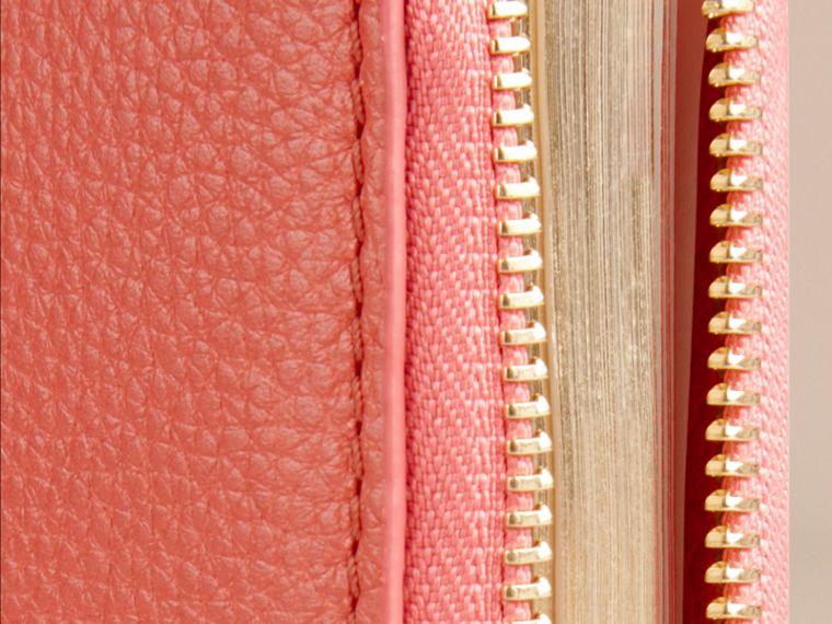 Ziparound Grainy Leather Mini Notebook in Bright Peony | Burberry - cell image 1