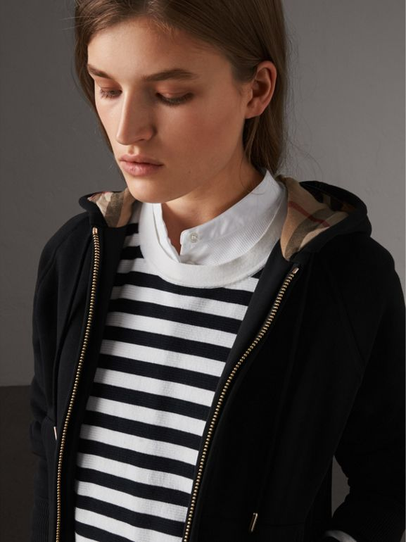 Hooded Zip-front Cotton Blend  Sweatshirt in Black - Women | Burberry - cell image 1