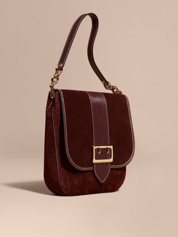 Sac cartable The Buckle en cuir velours avec surpiqûres Rouge Acajou