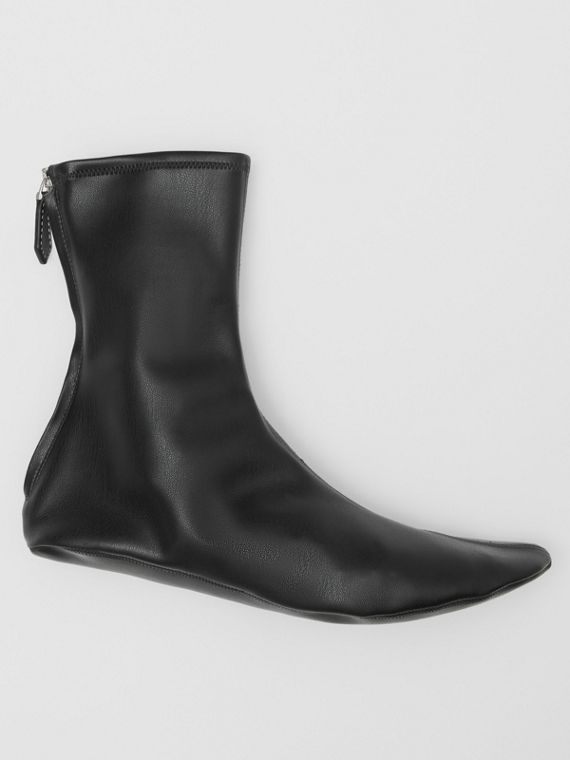 Faux Leather Ankle Socks in Black