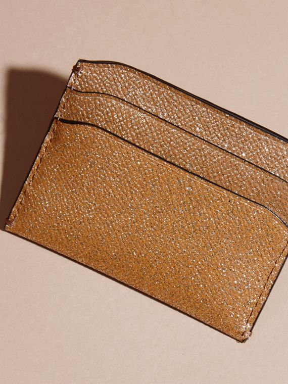 London Leather Glitter Card Case in Camel / Gold - cell image 3