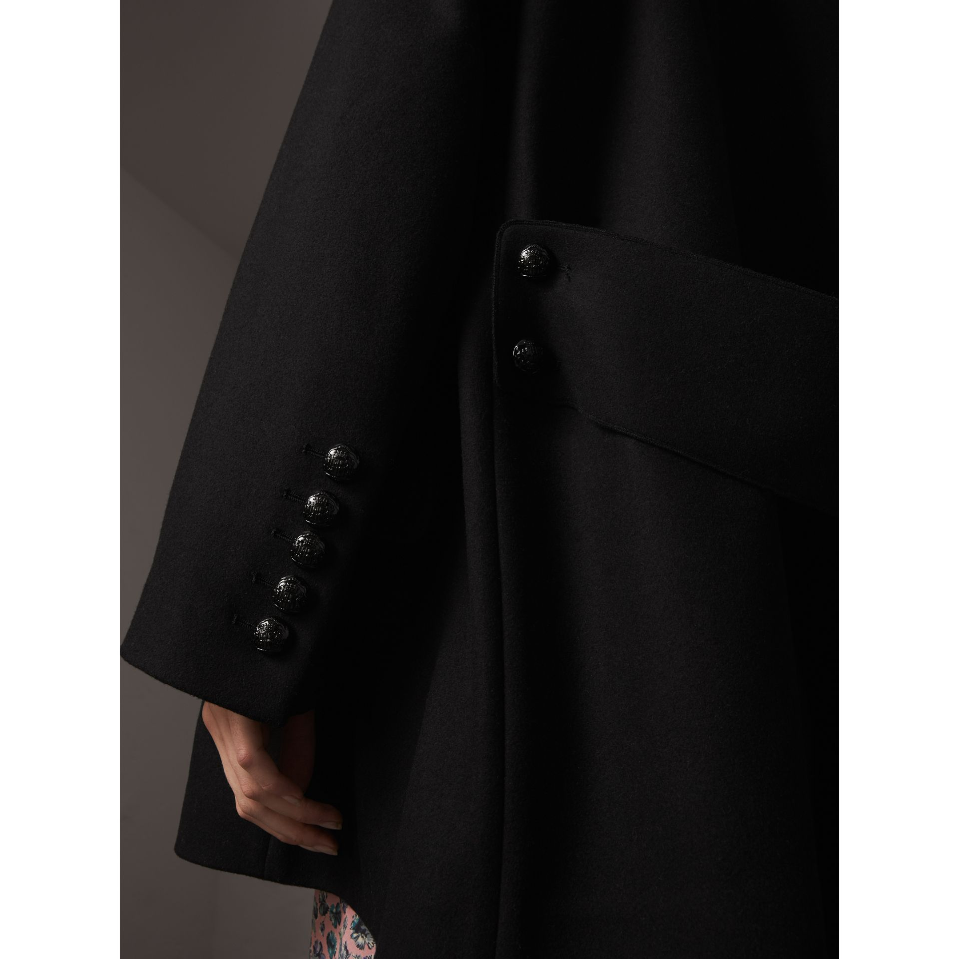 Wool Blend Pea Coat in Black - Women | Burberry - gallery image 2