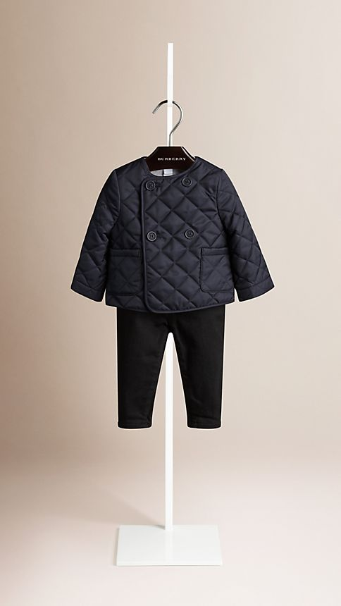 Navy Collarless Diamond Quilted Jacket Navy - Image 1