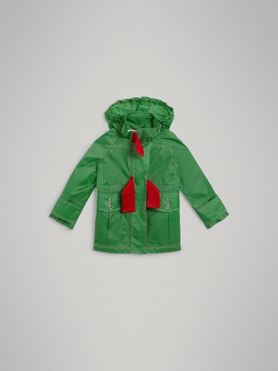 Tape Detail Rain Jacket in Bright Pigment Green - Girl | Burberry - cell image 2