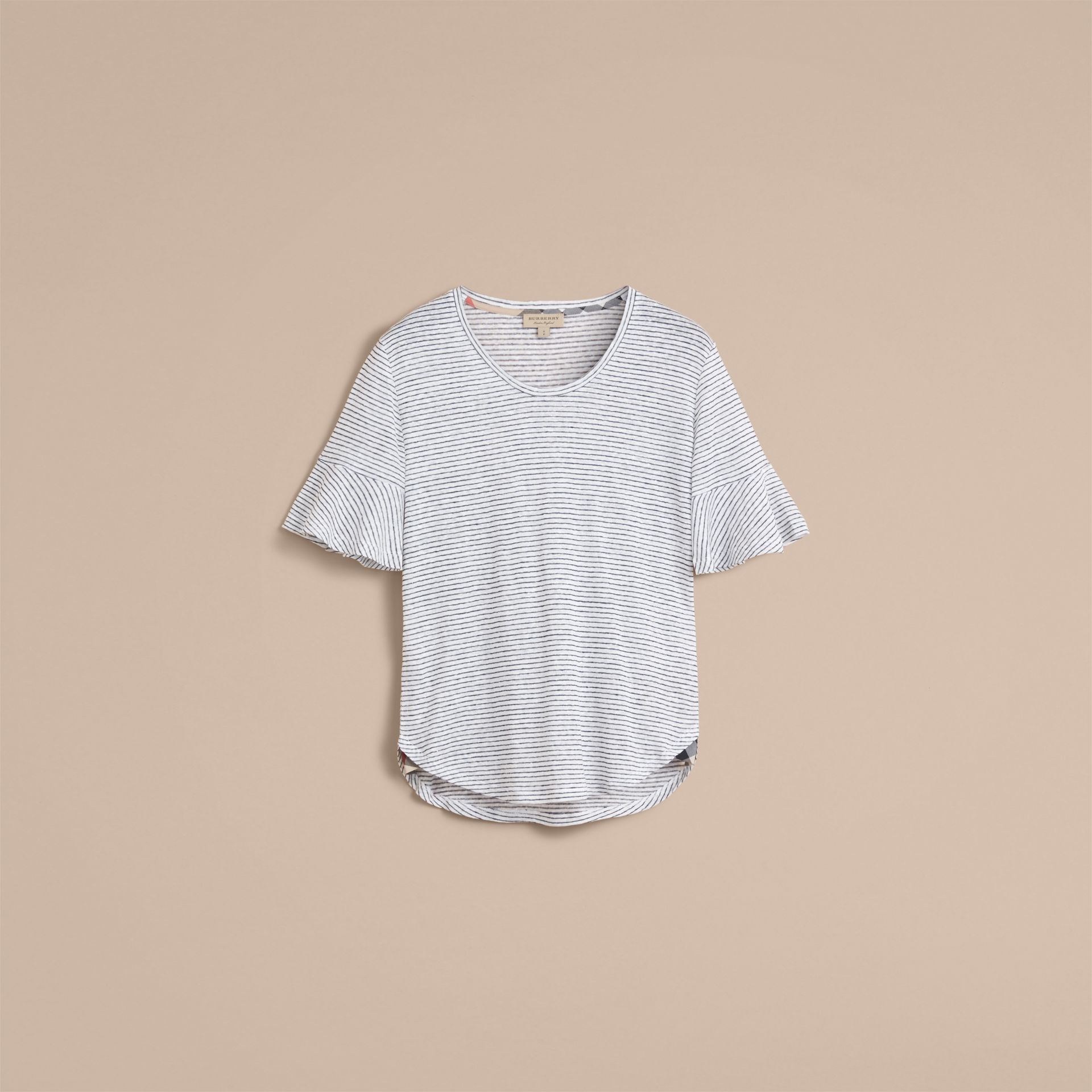Bell-sleeve Check Detail Striped Linen T-shirt in Natural White/navy - gallery image 4