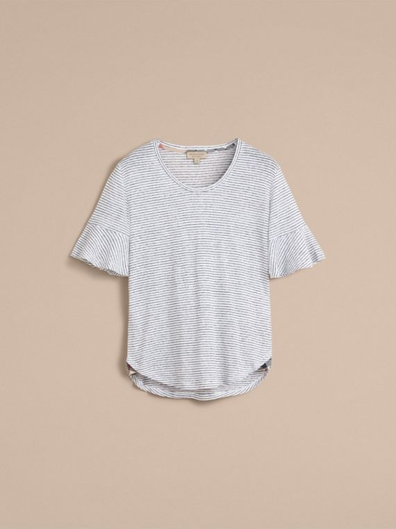 Bell-sleeve Check Detail Striped Linen T-shirt in Natural White/navy - cell image 3