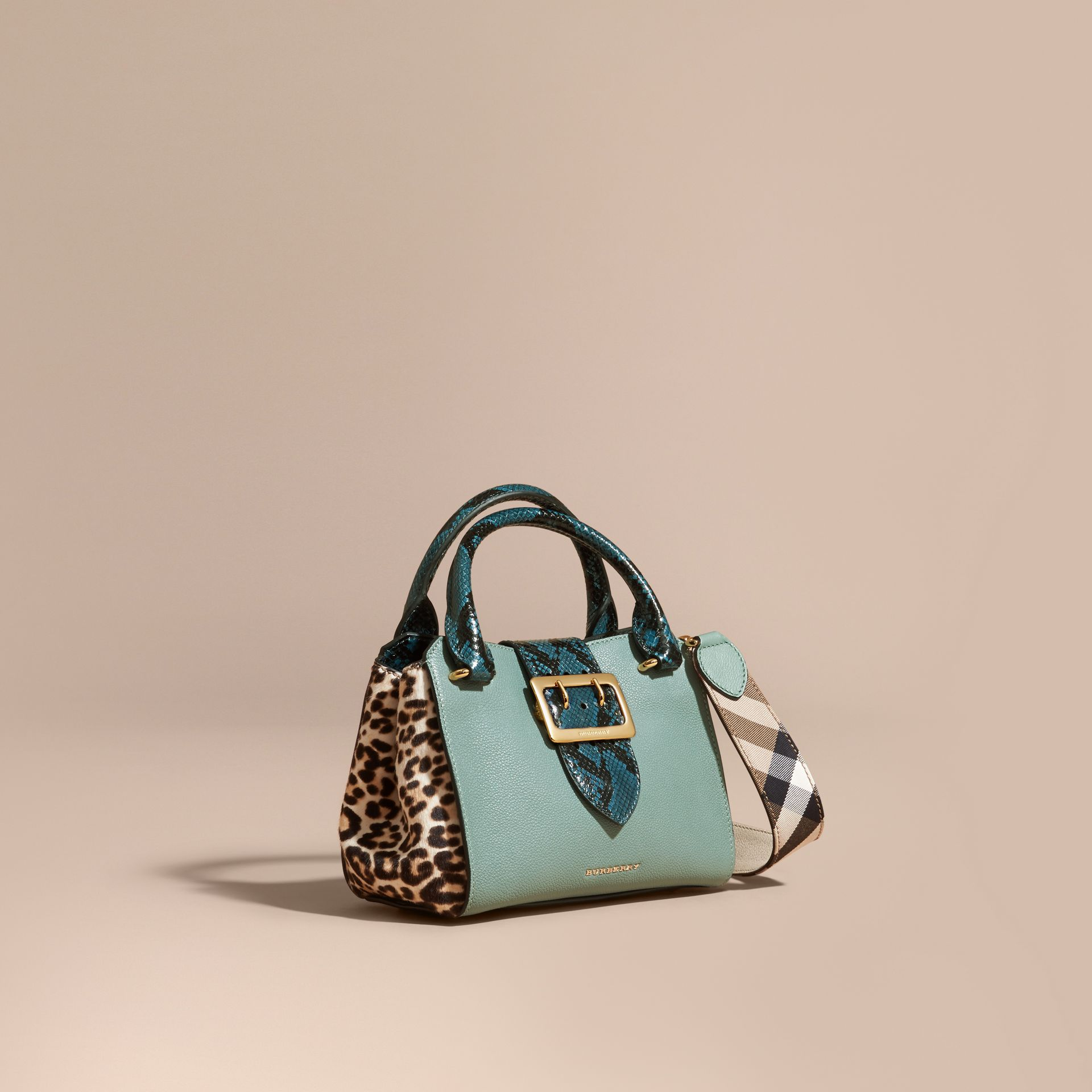 The Small Buckle Tote in Leather and  Leopard-print Calfskin Eucalyptus Green - gallery image 1