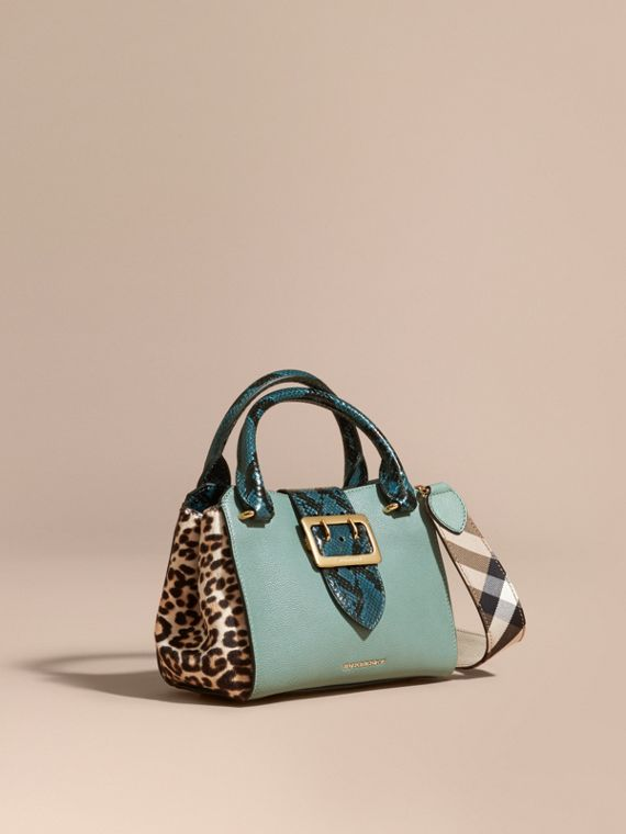 The Small Buckle Tote in Leather and  Leopard-print Calfskin Eucalyptus Green
