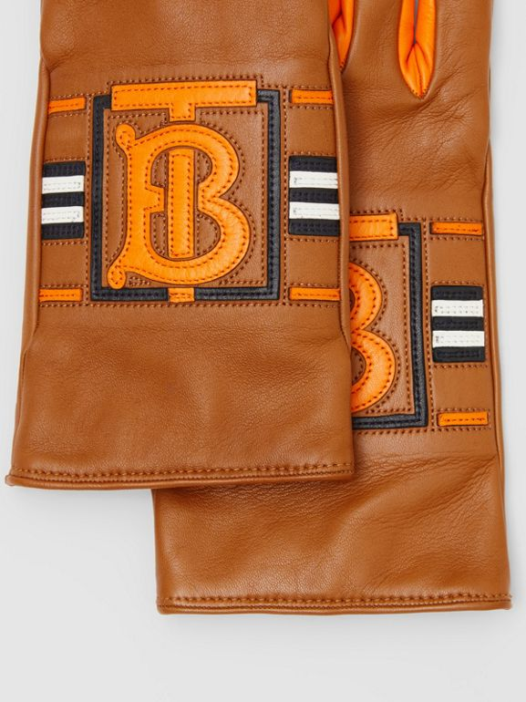Monogram Intarsia Cashmere-lined Lambskin Gloves in Camel/bright Orange | Burberry United Kingdom - cell image 1