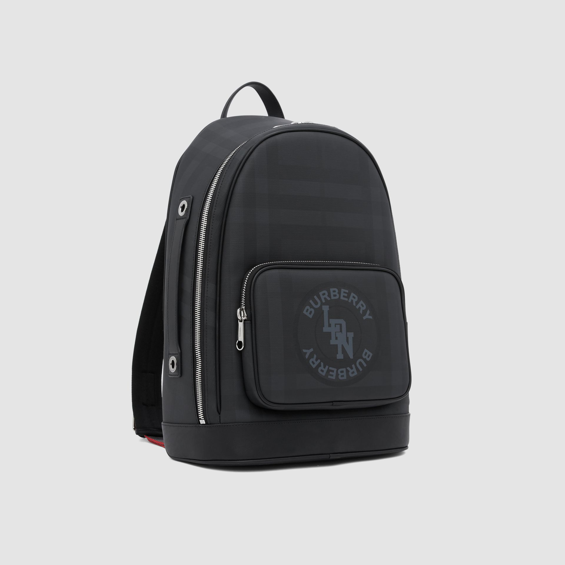 Logo Graphic London Check and Leather Backpack in Dark Charcoal | Burberry Hong Kong S.A.R - gallery image 8