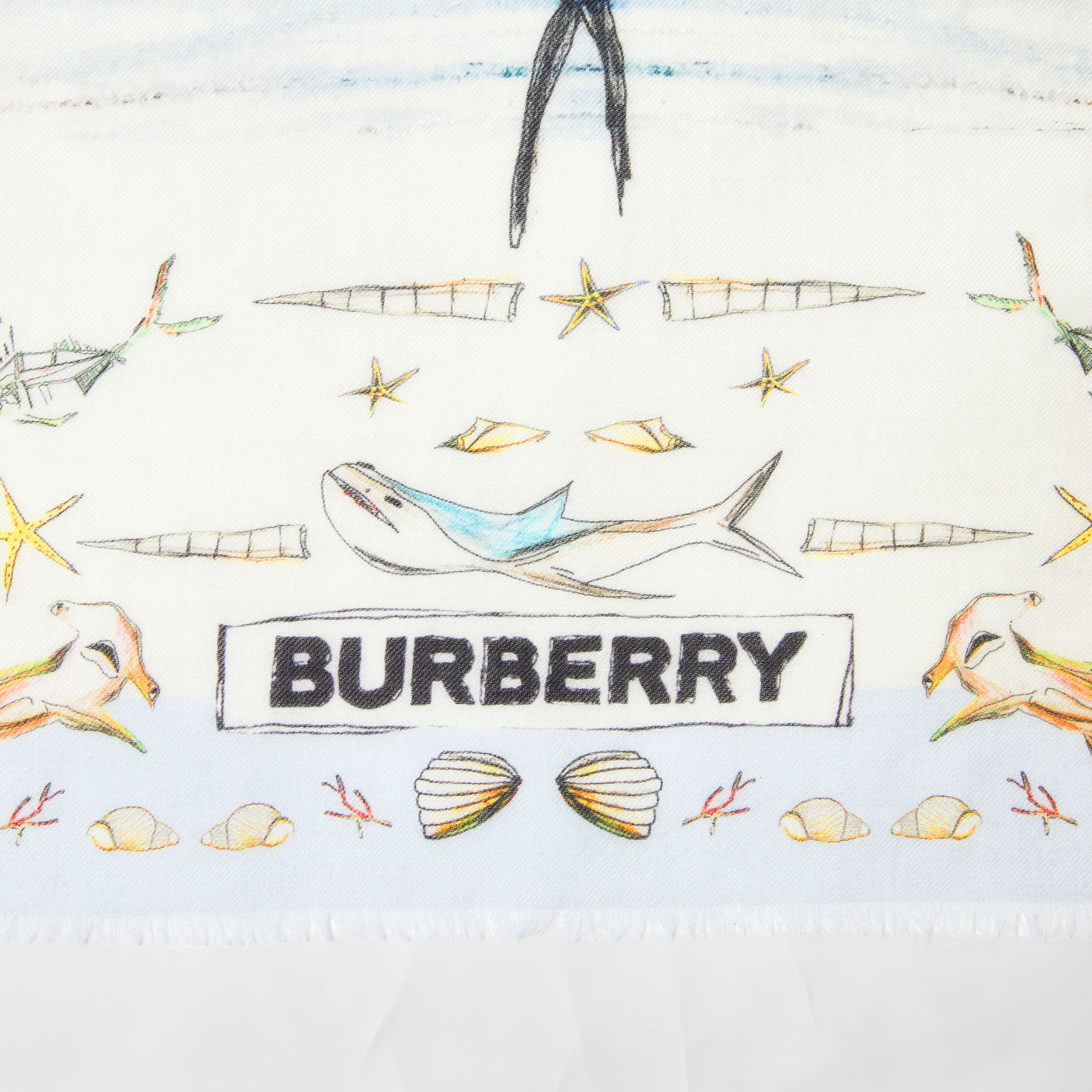 Marine Sketch Print Cashmere Large Square Scarf in White | Burberry - 2