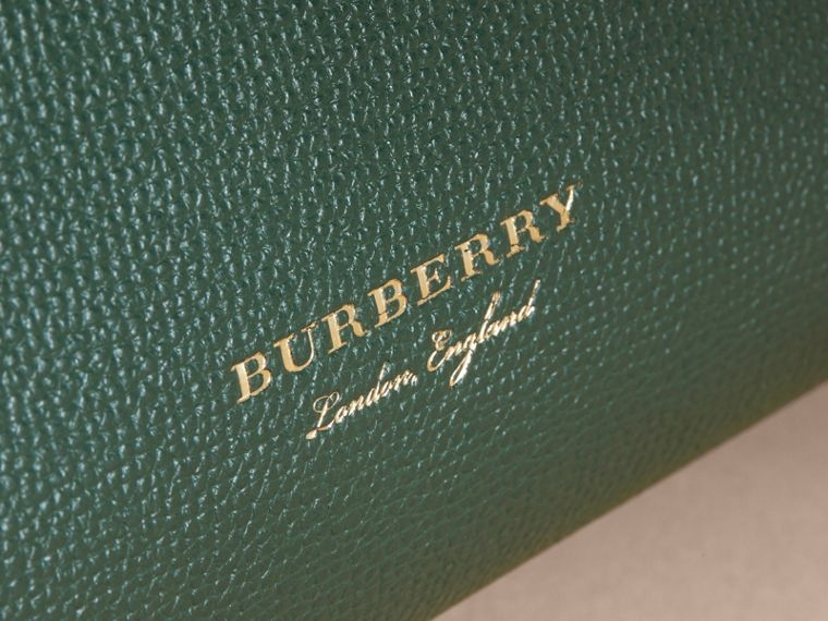 The Small Banner in Leather and House Check in Dark Bottle Green - Women | Burberry - cell image 1
