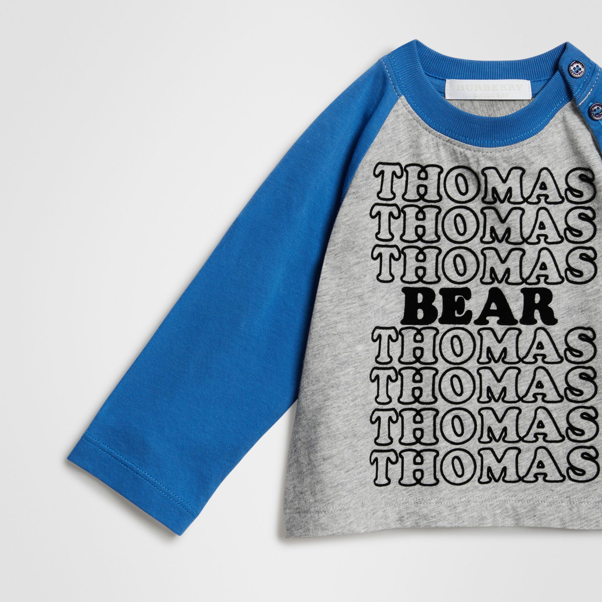 Thomas Bear Raglan-sleeve Cotton Top in Grey Melange - Children | Burberry Hong Kong - gallery image 4