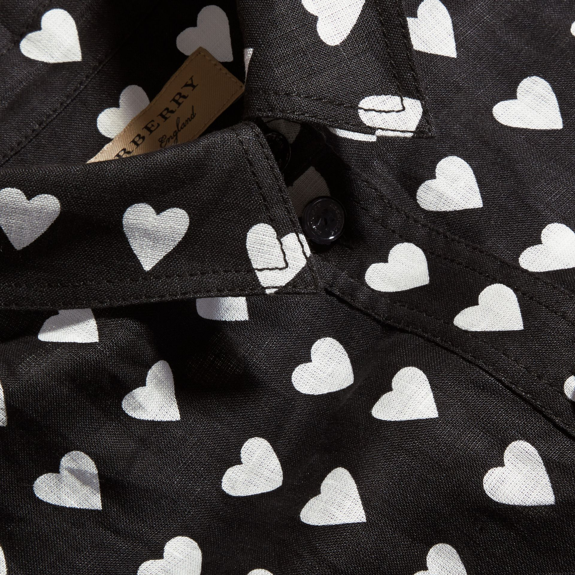 Black Heart Print Linen Shirt Black - gallery image 2