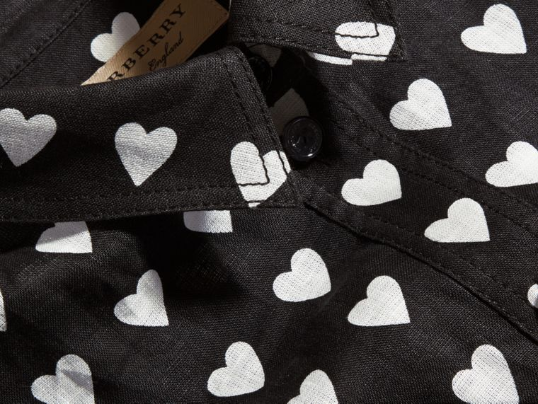 Black Heart Print Linen Shirt Black - cell image 1
