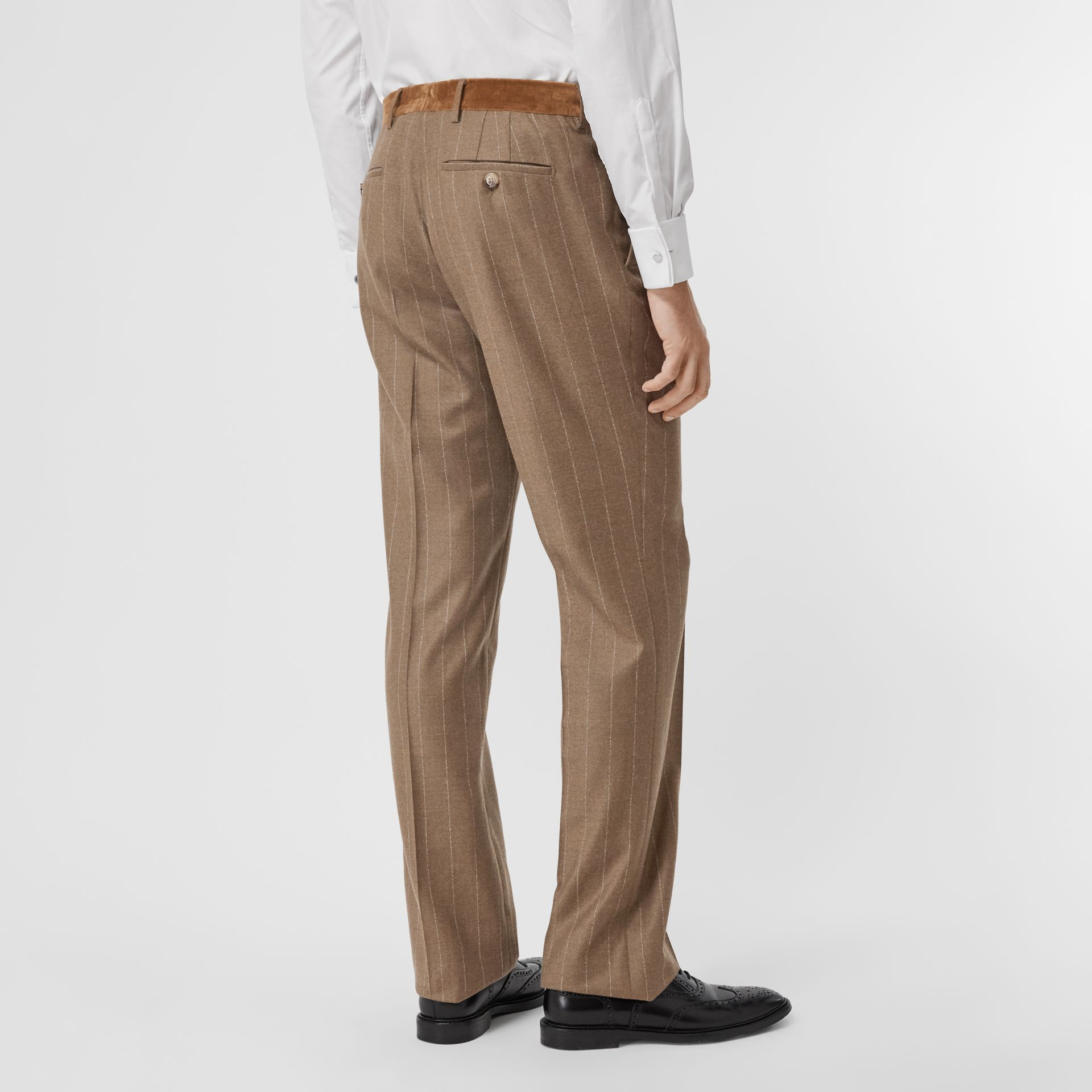 Classic Fit Velvet Trim Wool Cashmere Trousers in Dark Tan - Men | Burberry Australia - gallery image 2
