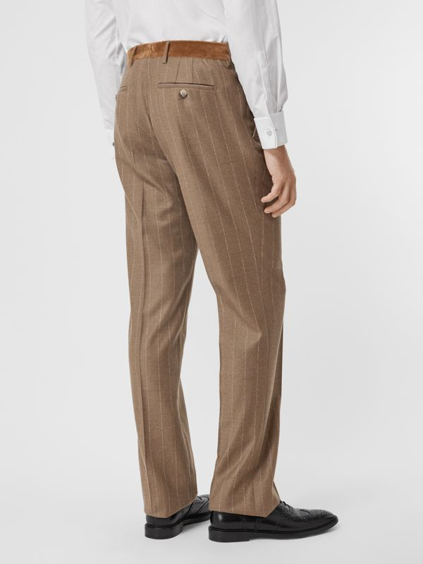 Classic Fit Velvet Trim Wool Cashmere Trousers in Dark Tan - Men | Burberry Australia - cell image 2