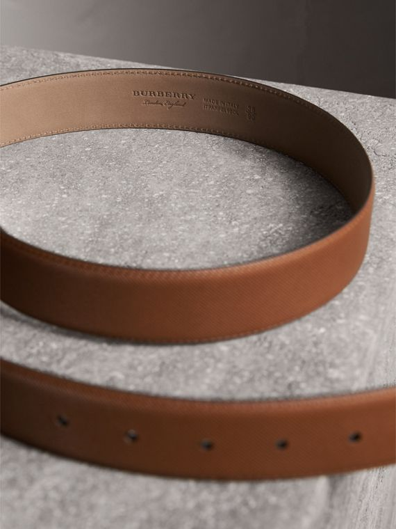 Brass Plaque Buckle Trench Leather Belt in Tan - Men | Burberry United Kingdom - cell image 3