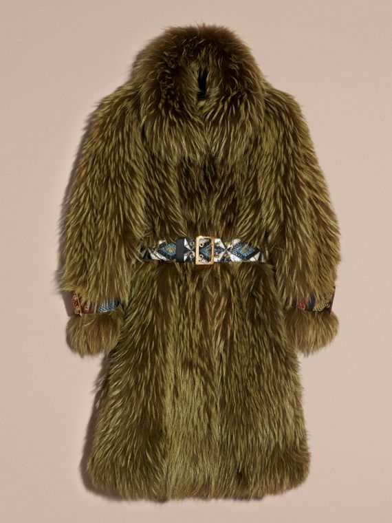 Bright yellow olive Oversize Raccoon Coat with Snakeskin Details - cell image 3