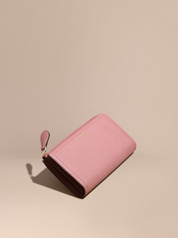 Grainy Leather Ziparound Wallet Dusty Pink