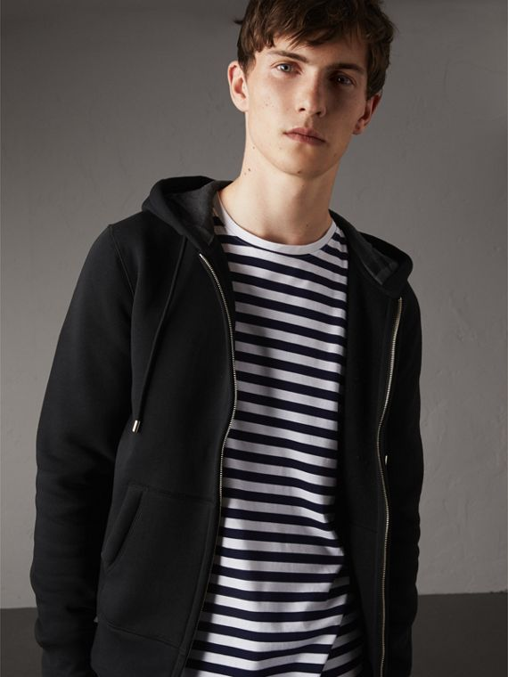 Hooded Cotton Jersey Top in Black - Men | Burberry Australia