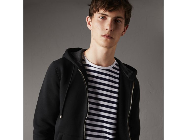 Hooded Cotton Jersey Top in Black - Men | Burberry Hong Kong - cell image 4