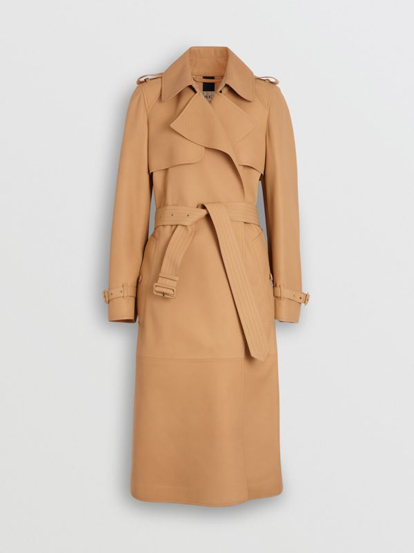 Trench coat a scialle in pelle di agnello (Caramello) - Donna | Burberry - cell image 3