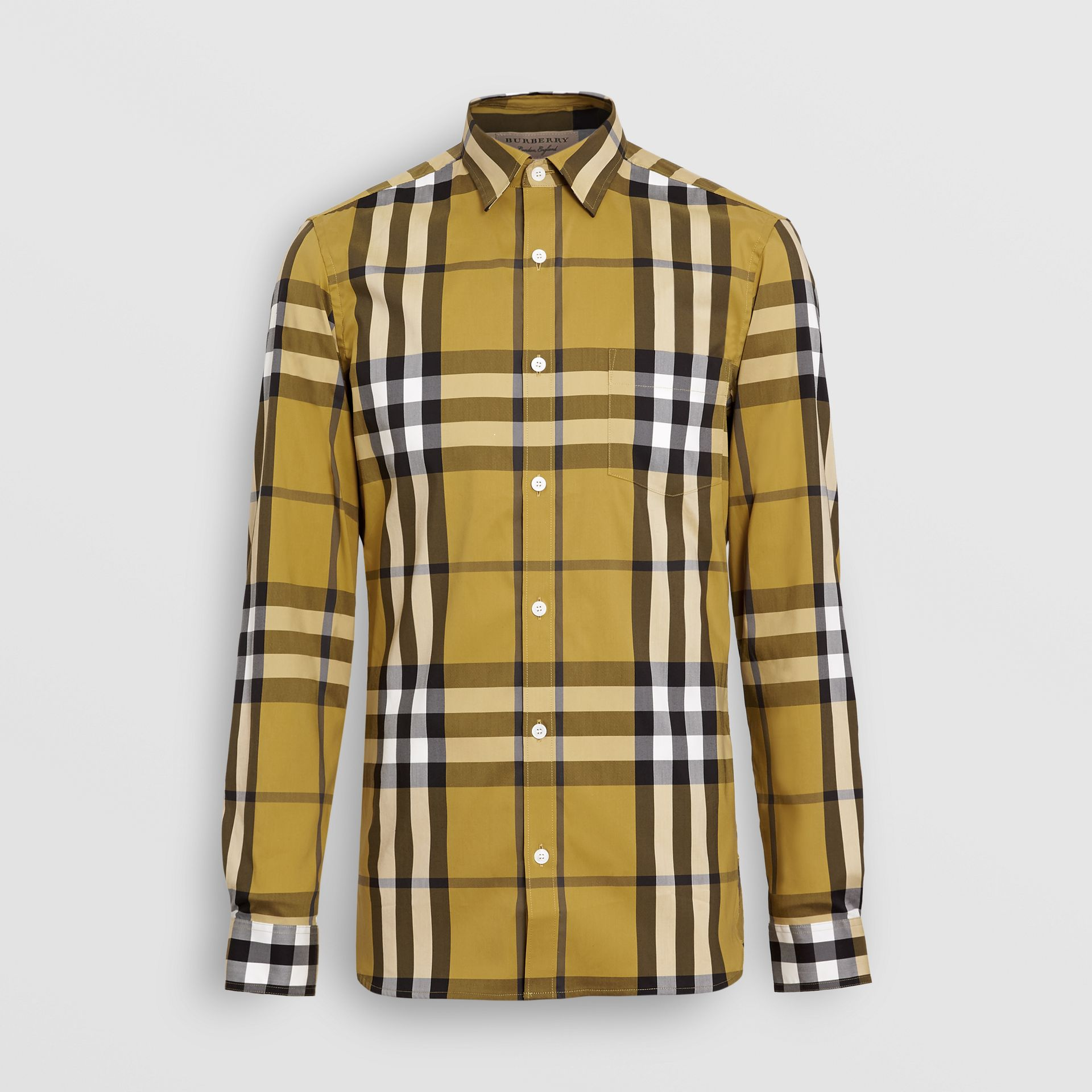 Check Stretch Cotton Shirt in Yellow - Men | Burberry - gallery image 3
