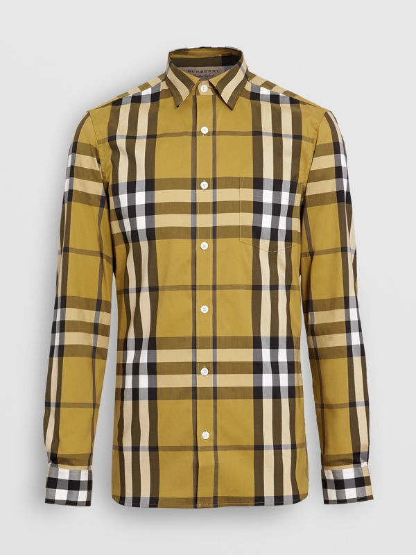 Check Stretch Cotton Shirt in Yellow - Men | Burberry - cell image 3