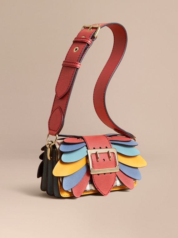 Borsa The Buckle piccola con motivo Haymarket check e pelle - Donna | Burberry