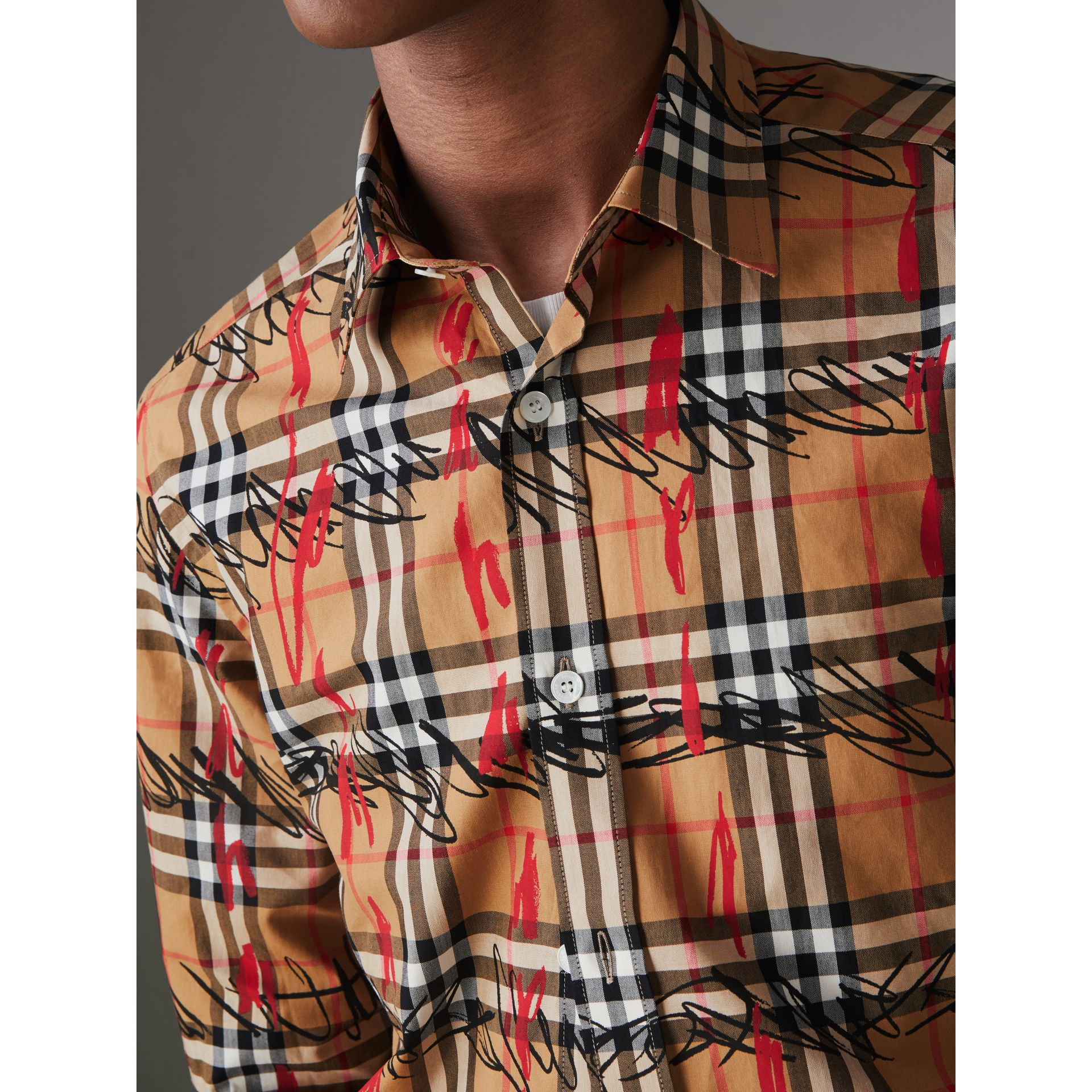 Scribble Check Cotton Shirt in Antique Yellow - Men | Burberry Singapore - gallery image 1