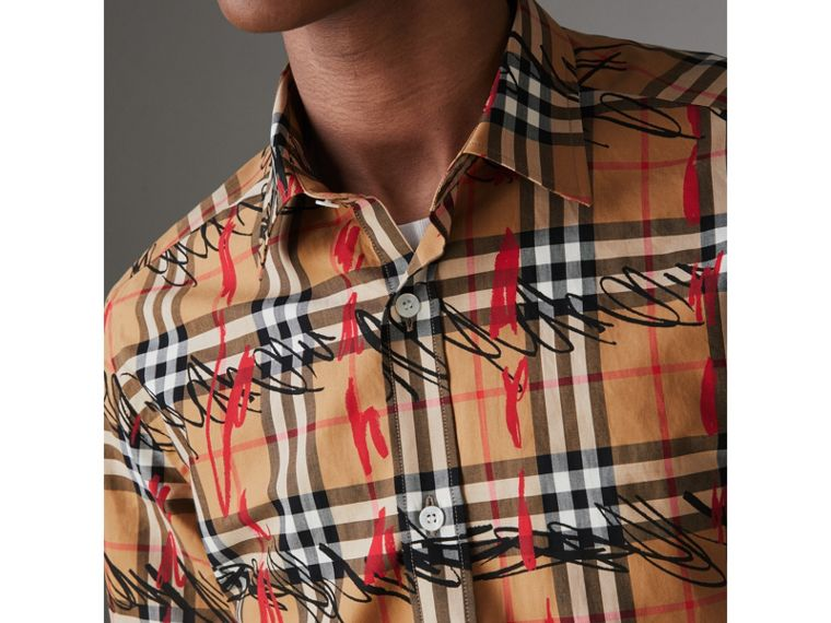 Scribble Check Cotton Shirt in Antique Yellow - Men | Burberry United Kingdom - cell image 1
