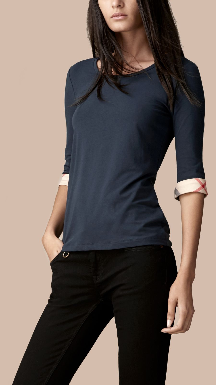 Navy Check Cuff Stretch-Cotton Top Navy - Image 3
