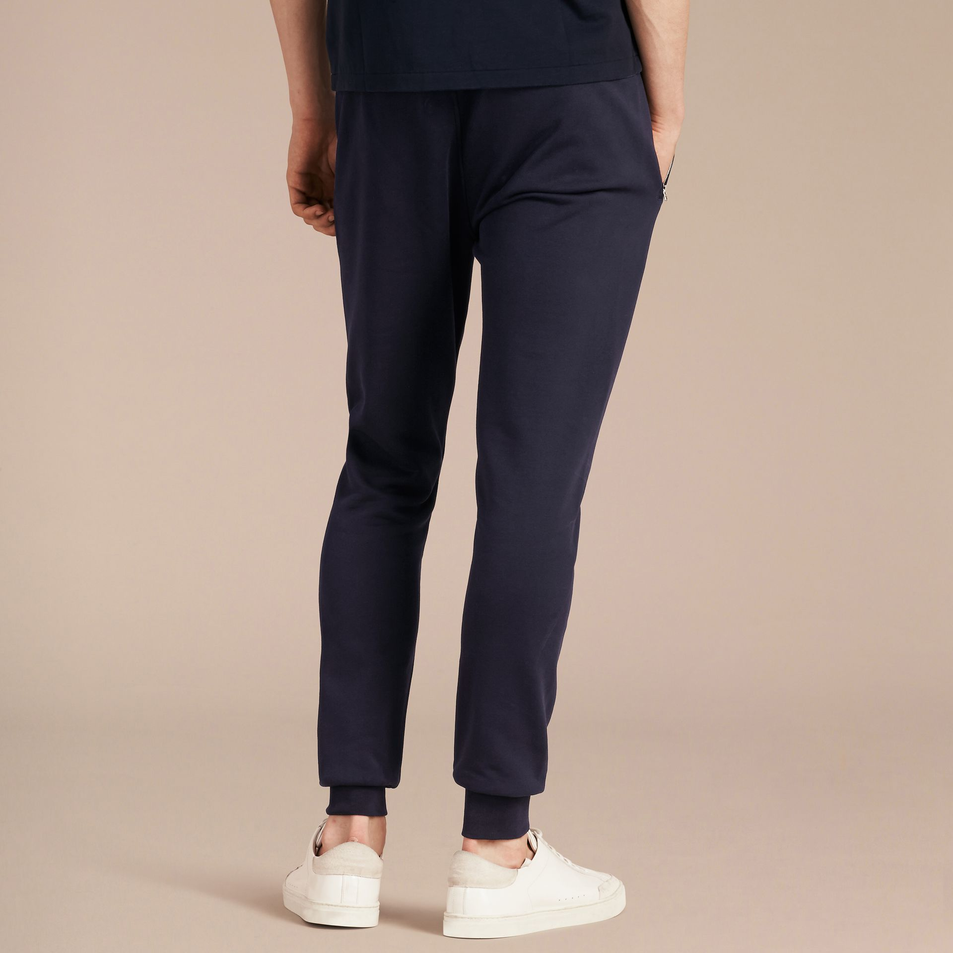 Cotton Sweatpants in Navy - gallery image 3