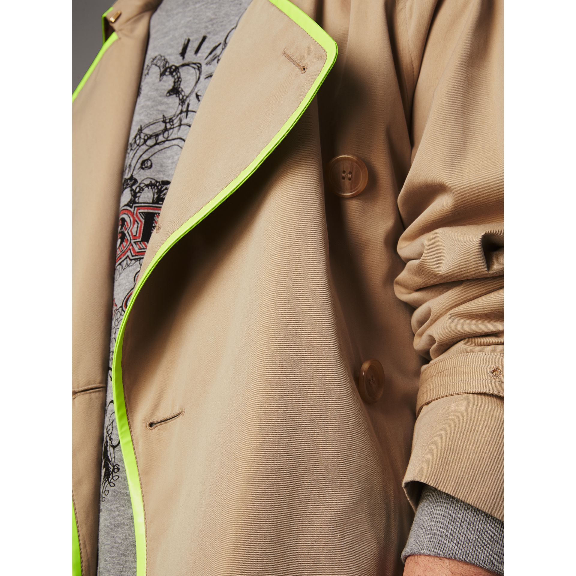 Tape Detail Cotton Gabardine Trench Coat in Honey - Men | Burberry - gallery image 4