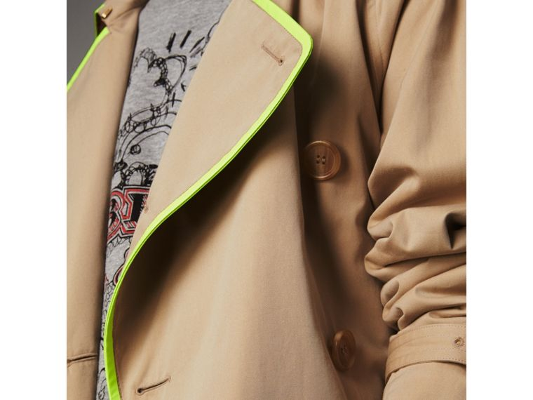Tape Detail Cotton Gabardine Trench Coat in Honey - Men | Burberry - cell image 4