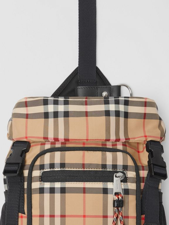 Vintage Check Nylon Leo Belt Pack in Archive Beige | Burberry United Kingdom - cell image 1